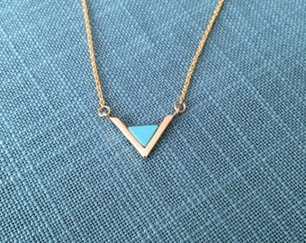 Gold Turquoise Triangle Pendant Necklace; layered necklace, gift for her, bridesmaid necklace, semiprecious stone, best friend gift