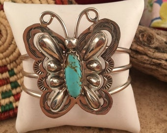 Spring Time Yet Vintage Navajo Turquoise & Sterling Silver Butterfly Cuff Bracelet Signed