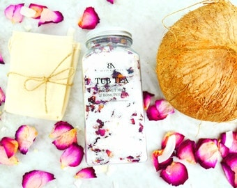 Stress Relief Gifts DIY kit Gifts for her wife gifts Bath Salts Rose petals Coconut Oil Teachers gifts Housewarming gift Encouragements gift