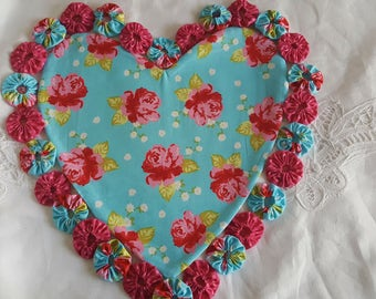 Shabby-Chic Heart quilted table topper, candle mat, table runner, mother's day gift, home decor