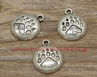 20pcs Bear Paw Print Charms Animal Charms Antique Silver Tone 20x17mm cf0297