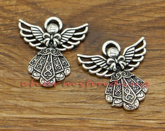 20pcs Angel Charms Antique Silver Tone 27x24mm cf0510