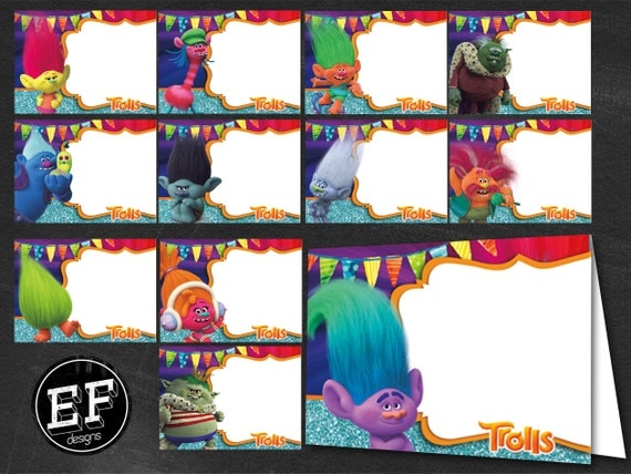 Trolls Party Food Labels Printable