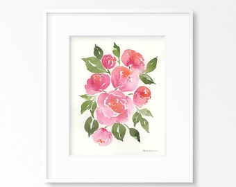 Pink Peonies - Original Watercolor