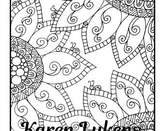 Peaceful, 1 Adult Coloring Book Page, Printable Instant Download, flowers and ladybugs