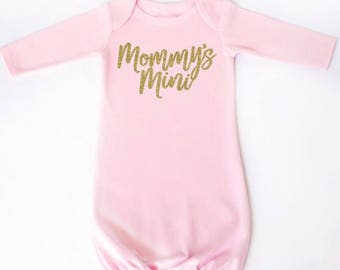 Mommy's Mini infant gown - Mommy's Mini newborn gown - Mommy's mini baby gown - Mommy's mini - Baby shower gift for baby girl