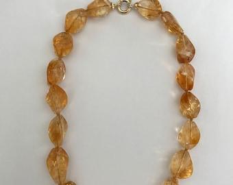 Citrine quartz laser cut  necklace 18k yellow gold clasp