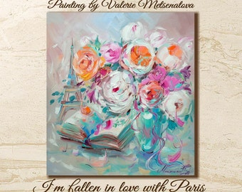 Eiffel tower, Flowers painting, Roses, Paris, Love, Bright painting, Original painting, For her, Best gift, Living room painting, Gift, Pink