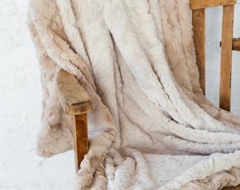Tan Fur Throw Blanket, Neutral, Throw Blanket, Tan, Faux fur Throw, Faux Fur Blanket, Neutral Decor, Tan Blanket, Personal Throw, Cozy Decor
