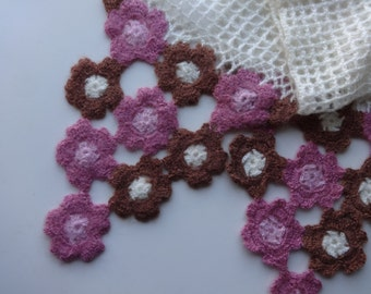 Long angora hand crocheted scarf, cream and pink flowers, summery and cute, very soft