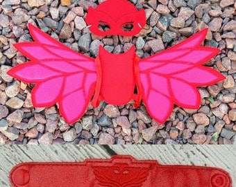 Red Bedtime Hero Mask and Wings - Owlette Costume - Halloween - Dress Up - Pretend Play - Wings - Mask - Bracelet