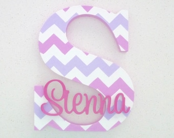 Kids Wooden Letters Name Sign - Kids bedroom decor - Nursery letters - Wooden wall and door letters - Chevron