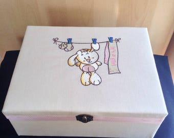 Large Keepsake trinket memory christening box newborn baby girl gift