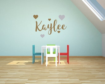 Custom name wall decal sticker with 5 hearts