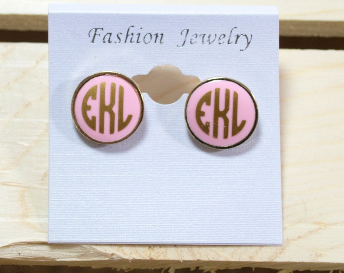 Monogram Post Earrings / jewelry/ gold or silver post with black / pink / cream / mint enamel / 16 mm