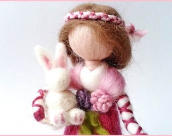 Doll decorative Waldorf wool felted and his White Rabbit