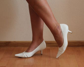 White Shoes Women Shoes Pointed Pumps High Heels  Shoes Wedding Bridal Shoes EUR 37,US 6.5 , UK 4