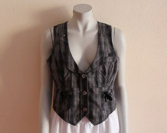 Women's Vest Grey Vest Black Gray Plaid Womens Vest Checkered Steampunk Waistcoat Formal Fitted Waistcoat Classic  Medium to Large Size