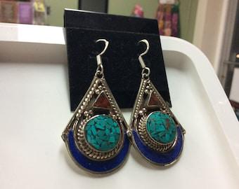 Handmade Tibetan turquoise lapis earring