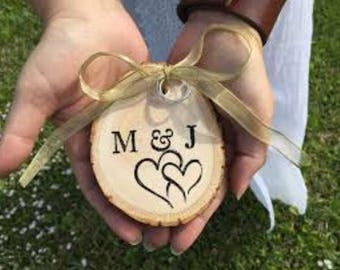 Personalized Wood Slice Ring Bearer Pillow, Bride and Groom Gift, Rustic Wedding Decor