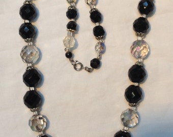 1950s to 1960s black and white aurora crystal bead necklace just over 20 inches long