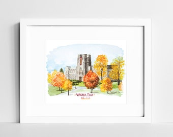 Virginia Tech Hokies Watercolor Print | VT College Campus Wall Art | Blacksburg VA