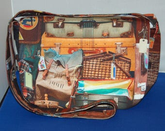 Suitcase Fabric Messenger Bag Handmade Pocket Inside