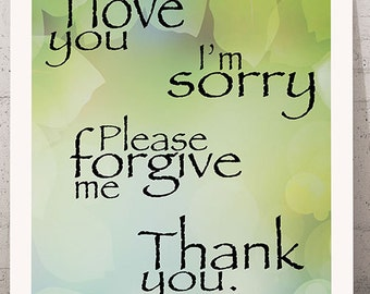 Printable Wall Art, Please forgive me, I'm sorry, Thank you, Prayer Quote, Digital file, Hand drawing, Watercolor painting, Instant download