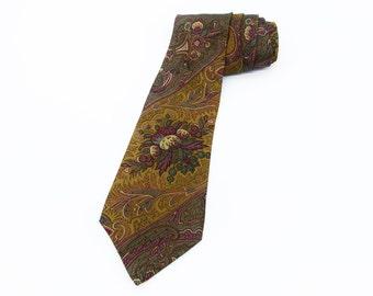 RENE LEZARD Silk Tie Autumnal Colours Quality Silk Necktie for Work Vintage Mens Fashion Accessory