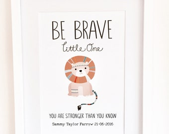 Personalised Baby Print, Christening Art, Jungle Theme Nursery Decor, Be Brave Quote, Christening Gift, Quote Print, Lion Wall Art