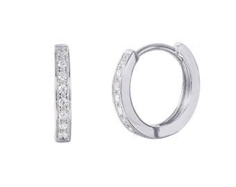 Sterling Silver Rhodium Plated CZ Hoop Earrings | Bridesmaids Gift | Everyday Earrings