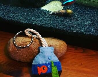 Felt fishbowl keyring