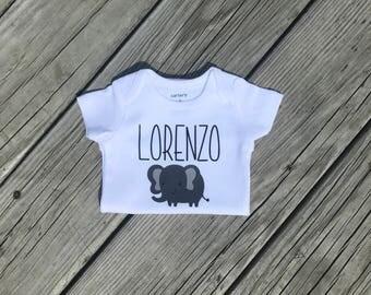 Personalized Elephant Baby boy bodysuit, Personalized  Bodysuit, Bodysuit, Baby Boy Clothing, Baby Boy, Baby Shower Gift, Elephant