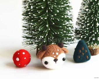 Handmade Needle Felted Reindeer Pine Ornament Brooch Set, Christmas Decoration, Gift for Mom