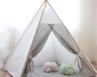 Kids teepee gray stars - Playhouse - Play tent - Teepee - Kids gift - Baby gift - Childrens gift - Boys play tent - Girls playhouse