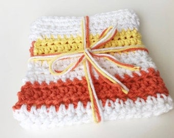 Crochet Washcloth, Crochet Dishcloth, 100% Cotton, Yellow Washcloth, Striped Washcloth, Orange Washcloth, Jumbo Washcloth, Made in Maine