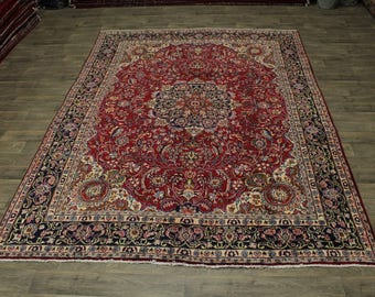 Traditional Rare S Antique Floral Mashad Persian Rug Oriental Area Carpet 9X12