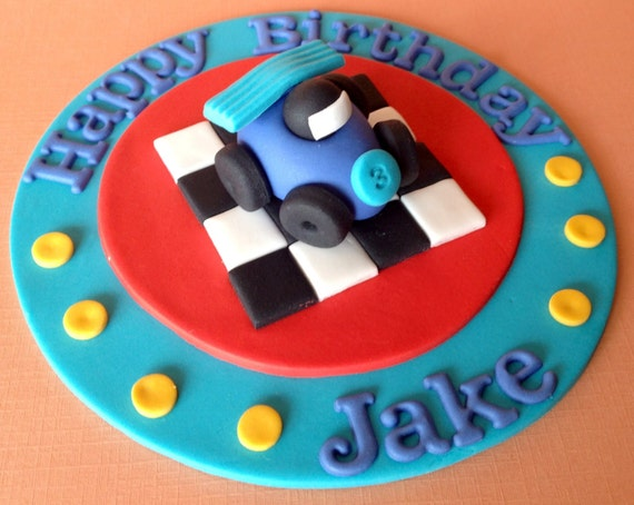 Edible fondant 3d car racing plaque boys birthday party for 3d printer cake decoration