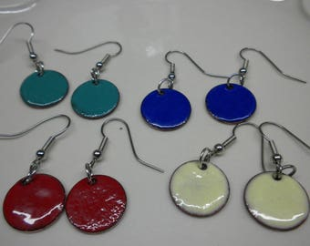 Choose color Artisan Enamel Earrings, Torch Fired Enamel Earrings, Surgical Steel Fish Hook Earrings , Cream, Red, Black, Blue, Green