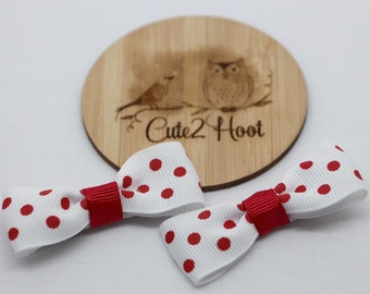 Bow Hair Clips, Hair Clips, bow hair clips, hair accessories, baby hair clips, girls hair clips, alligator clips, red spot