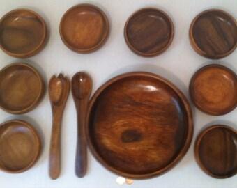 Vintage Nice 11 Piece Wooden Bowl Set, 8 Serving Dishes, Salad Bowl, Kitchen Decor, Fine Quality Hardwood, Kitchen Decoration, Wood Bowls