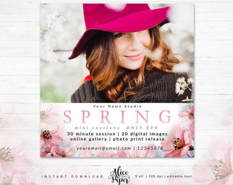 Spring Mini Session Template, Photography Template, Mini Session Marketing, Marketing for Photographers, Photography Marketing,Photoshop,psd