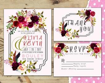Floral wedding invitation Floral wedding invitation kit Wedding invitation floral Roses wedding invitation Floral wedding invite W27