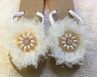 Pair- Gold Bridal Flip Flops Lace Flower Flip Flops - Rhinestone Bridal Flip Flops  - Bridal Sandals.