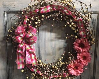 18 inch primitive country grapevine spring wreath