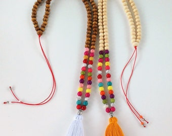 Multicolor Howlite beads Mala Necklace-108 + 1 wooden beads Mala Necklace- Meditation Necklace - Collar para meditación  - tassel necklace -
