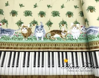 Japanese Fabric | Japanese Canvas Fabric | Kokka | Play piano with cat