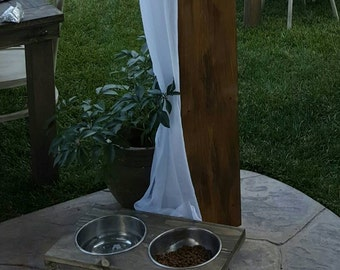 Rustic elegance for pet lovers.  Feed your furry friend in style