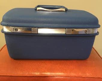 Vintage samsonite traincase suitcase blue traincase makeup case luggage carryon travel bag overnight case Saturn blue storage decor retro