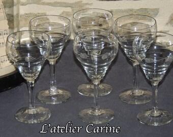 Lot of 6 old Bistro, Ambassador model glass with football of bistro glasses engraved, bistro, glass